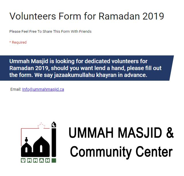 2019 04 29 Volunteers for Ramadan 2019