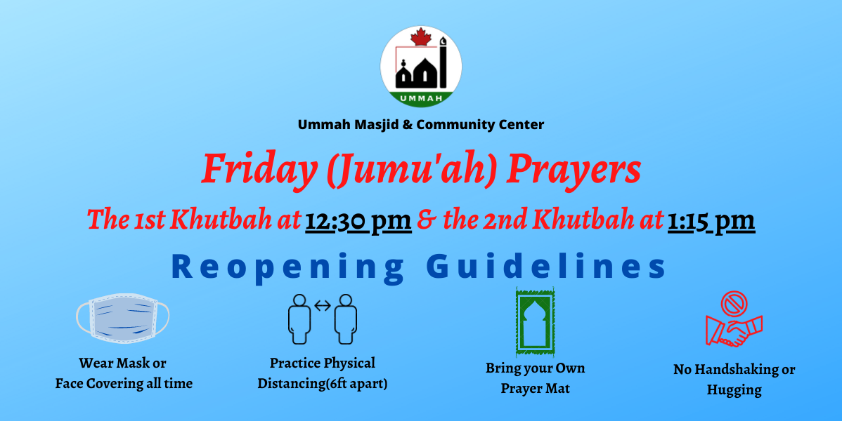 Ummah Masjid Community Center Reopening Guidelines 2